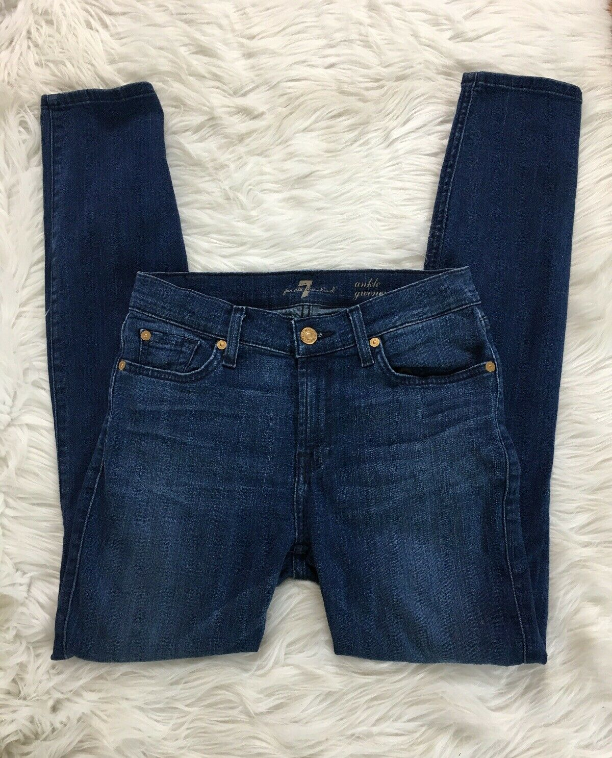 7 For All Mankind Gwenevere Ankle Skinny Jeans Sz 26 High Rise