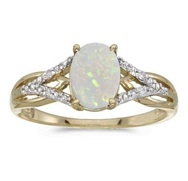 .70CT Genuine Natural Oval Opal and Diamond Ring 10K Yellow Gold