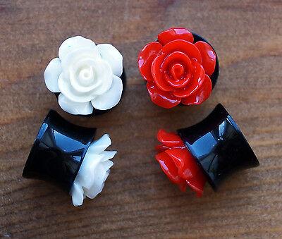 ROSE FLOWER ACRYLIC CARVED FLESH PLUG SADDLE FIT EAR TUNNEL STRETCHER GAUGE
