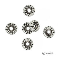 6 Antiqued Bali Sterling Silver Rope Rondelle Spacer Beads 5mm 99104