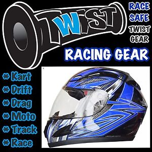 ADULT-YOUTH-GO-KART-DRIFT-TRIKE-RACE-TRACK-DRAG-MOTO-HELMET-Blue-Black-XLarge