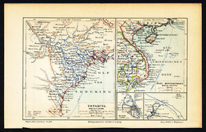 Map Of Asia Gulf Of Tonkin.Details About Antique Map Gulf Of Tonkin Southeast Asia Meyers 1895