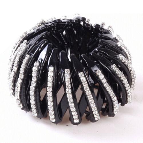 Black Round Crystal Rhinestone Hair Claw Bling Hair Clip Clamp Ponytail LDUK