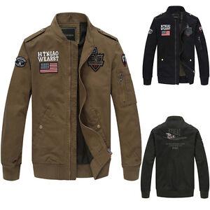 New-Men-039-s-Military-USA-Army-Flight-Slim-Zipper-Jackets-Air-Force-jacket-Coat