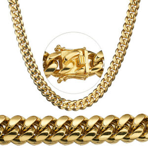 Luxury-Mens-Gold-Necklace-Chain-Stainless-Steel-Cuban-Miami-Link-Jewelry-Gift