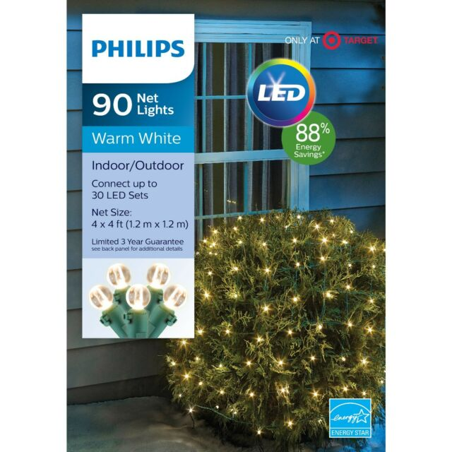Philips 90 Ct Christmas Led 4 X Round Sphere Net String Lights Warm White