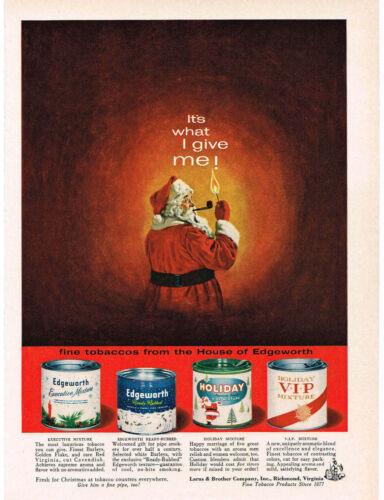 1960 EDGEWORTH Tobacco Tin Christmas SANTA CLAUS Smoking A Pipe art VTG Print Ad