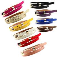 Fashion Women Skinny Waist Belt Lady Girl Thin Leather Narrow Waistband Belt Top