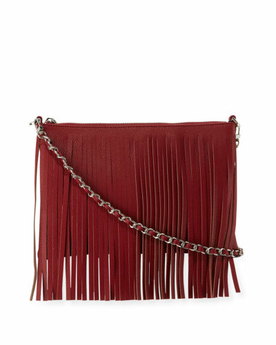 Posse Dara Fringe Leather Crossbody Bag, Crimson … - image 1