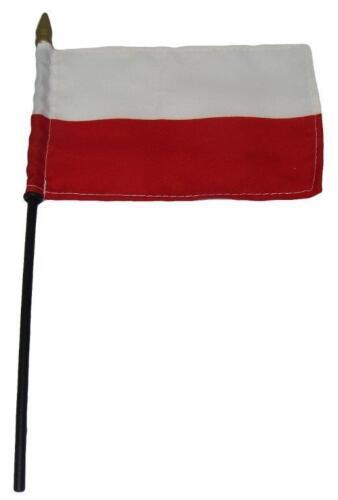 "Poland Polish Country 4/""x6/"" Flag Desk Set Table Wooden Stick Staff"
