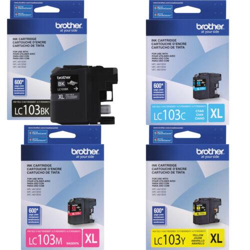 4 Genuine Brother LC103 XL Bk C M Y ink J4710DW J475DW J650DW J6520DW LC103 103