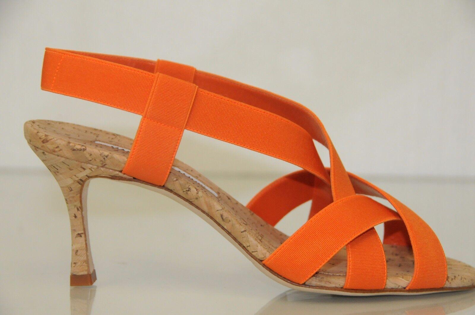 665 Nueva Manolo Blahnik Blahnik Blahnik Lasti Charol Naranja Corcho Sandalias Zapatos 36.5  barato