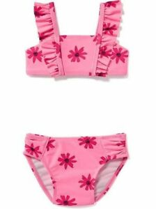6cf02ee62cc3f NWT OLD NAVY GIRLS SWIMSUIT SWIM two piece Daisy floral flower pink ...