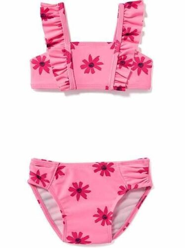 NWT OLD NAVY GIRLS SWIMSUIT SWIM two piece Daisy floral flower pink  u pick size