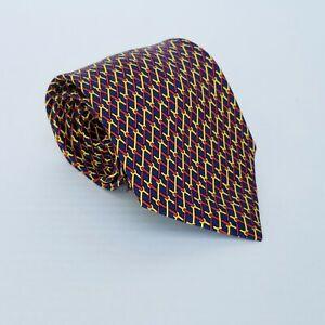 Men-039-s-HERMES-Silk-Tie-Necktie-7589-SA-Blue-Yellow-Red-Links-59-034-X-3-75-034