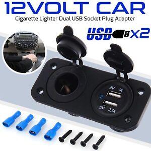 12V-Car-Cigarette-Lighter-Socket-Splitter-Dual-USB-Power-Adapter-Charger-Black
