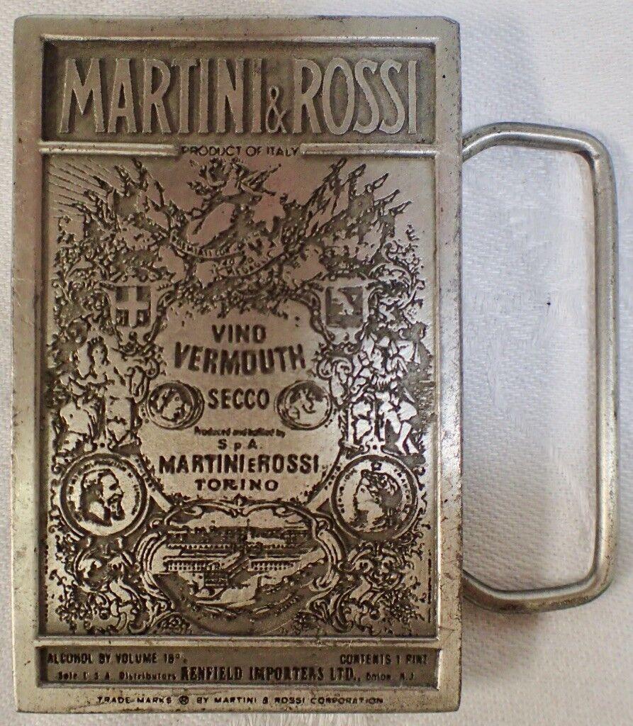 1974 MARTINI & ROSSI Ornate Belt Buckle Vino Vermouth Secco Bergamot Brass Works
