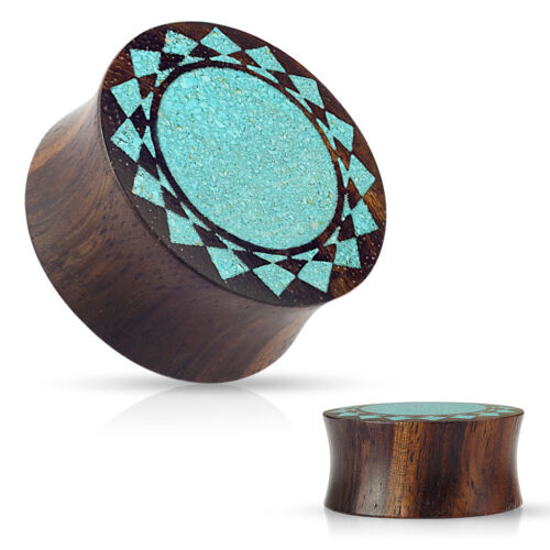 Paire de Broyé Turquoise Tribal Sunburst incrusté Sono Bois Double Évasé E531