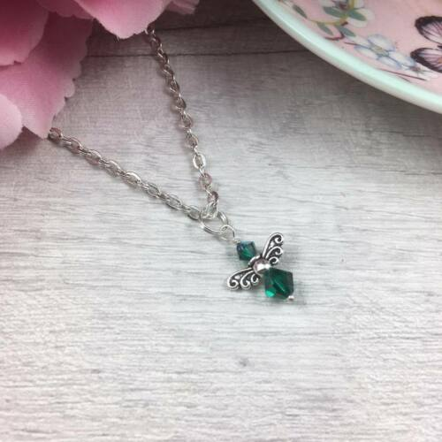 """Guardian ANGEL Birthstone NECKLACE Crystal BIRTHDAY Gift SILVER Wings 16/"""" 18/"""""""