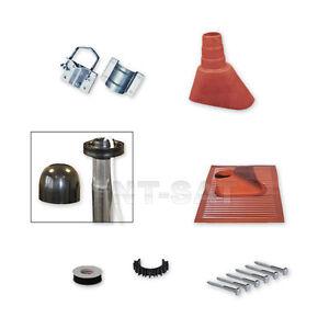 Sat-Mast-Montage-Set-Alu-Kunststoffziegel-Mastschelle-Rot-Mastkappe-Schraube