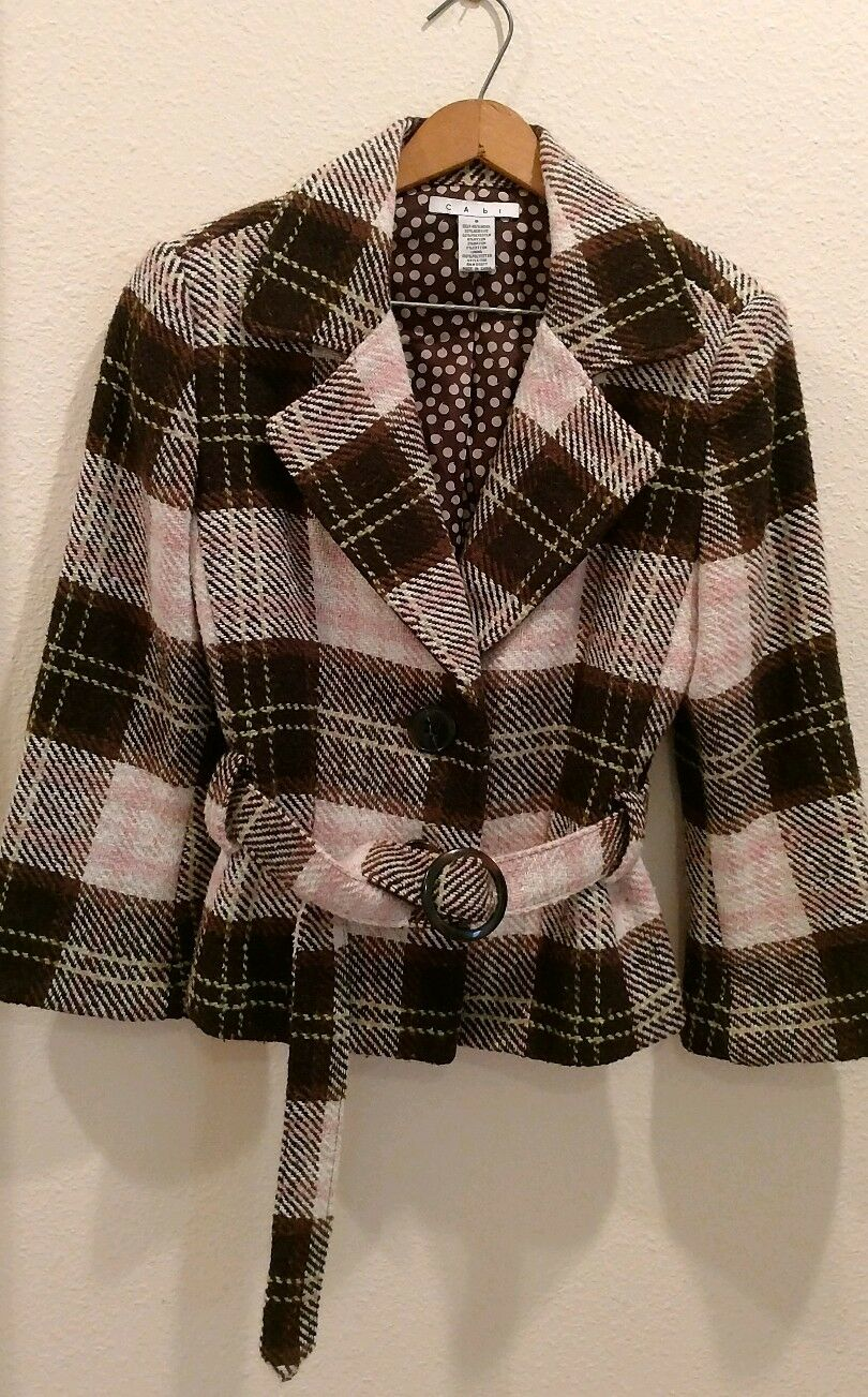 CAbi size 8 wool lined ladies blazer. Brown, pink, ivory plaid.  Adorable