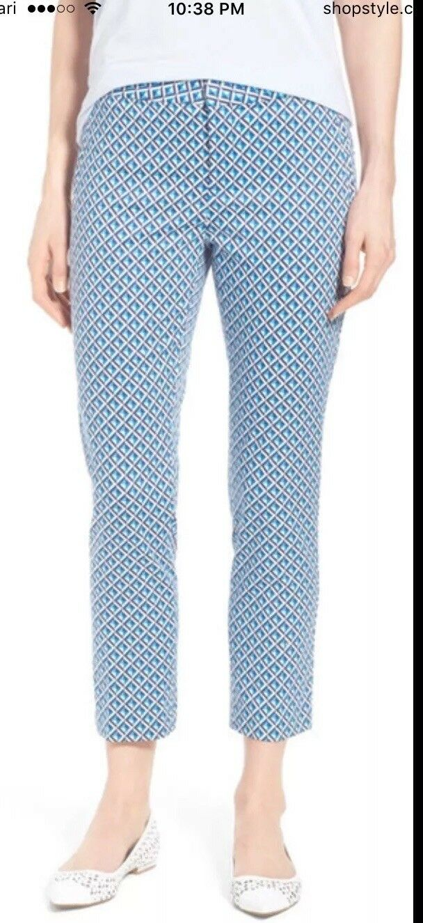 NWT NYDJ damen Corynna Blau Printed Ankle Pants Sz12 (slimming fit)