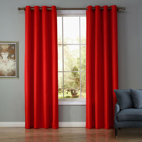 Luxury Thermal Blackout 40-70/% Curtains Made Eyelet Ring Top 2 Panels 8 Color
