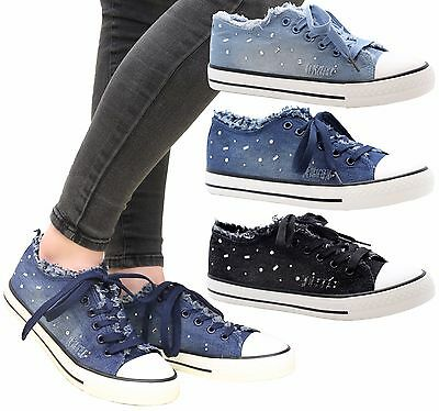 Ladies Flats Lace Up Casual Funky Denim Sneaker Pumps Trainers Shoes QUILTED GIR