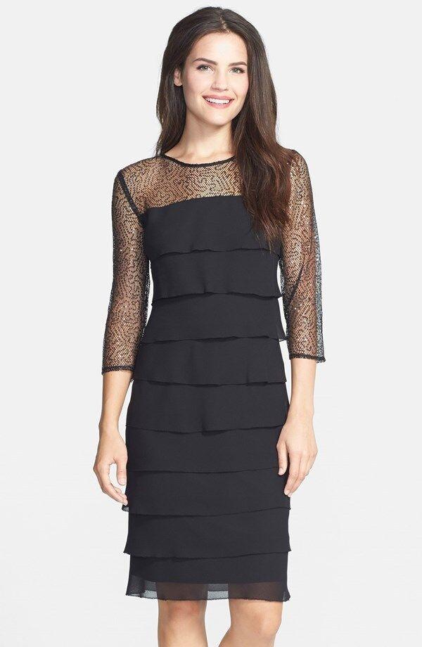 Alex Evenings Sequin Mesh Yoke Tiered Shift Dress  ( Size 16)
