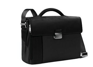 Exterior Pen Holder Piquadro Leather Briefcase 2 Gussets Black