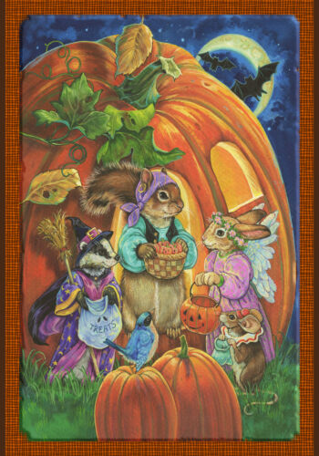 NEW LARGE TOLAND FLAG CRITTER HALLOWEEN BATS SQUIRREL MOUSE RABBIT RACCOON 28X40