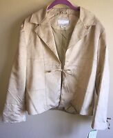 Vintage Collection Nuage Tie Jacket Beige Tan Large L (suede Like)