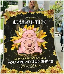 To My Daughter Sunflower Sofa Fleece Blanket 50-80