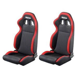 2-x-Sparco-R100-Reclining-Racing-Car-Sport-Bucket-Seats-Pair-Black-Red-Trim
