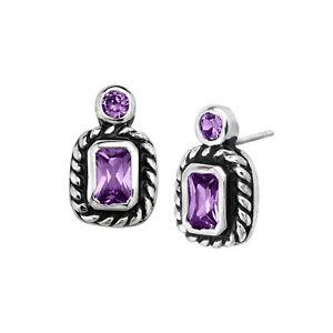 Geometric Stud Earrings with Purple Cubic Zirconia in Rhodium-Plated Brass
