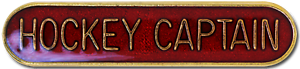 Hockey Captain Pin Badge in Red Enamel With Rounded Edge