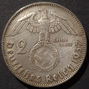 Nazi-Germany-Third-Reich-2-Mark-Silver-Coin-1937-J-Hamburg-Mint