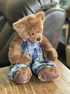 Ganz Cottage Collectibles Cc406 Brown Teddy Bear Weighted Plaid Overalls Vintage Ebay