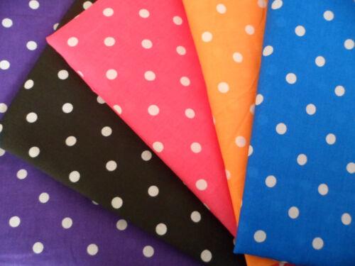 Pea Spot Polka Dot Polycotton Fabric Blue Black Pink Orange Purple Children Kids