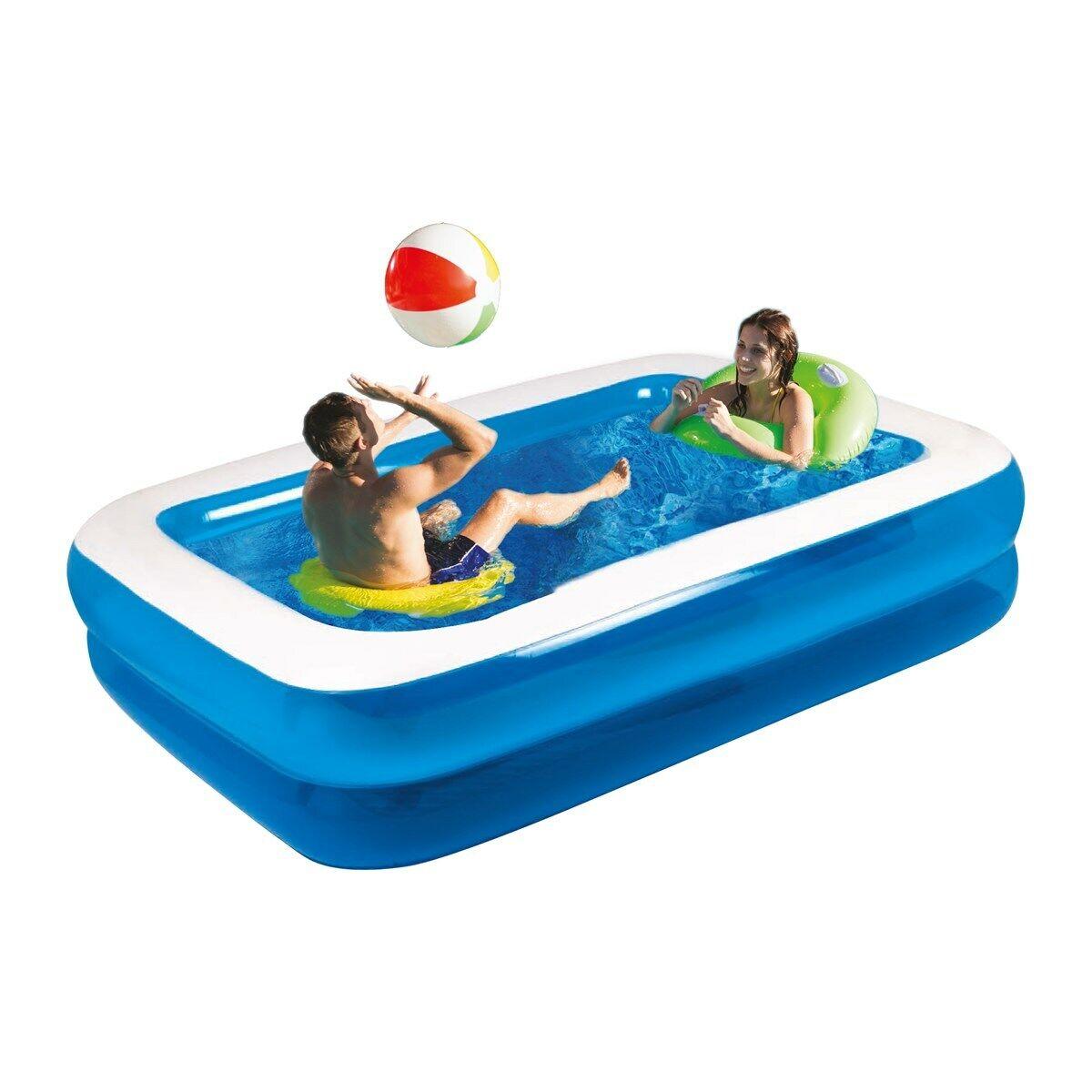 3m Rectangular Inflatable Paddling Swimming Pool Giant Large Leisure Pool Family