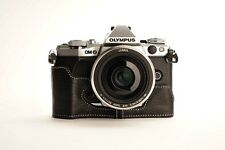 Genuine Real Leather Half Camera Case Bag for Olympus OMD EM5 II M2 Black Open