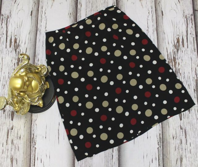 2548 Style Co Collection Women 14 Skirt 100% Silk Lining Polka Dot A-Line Career
