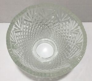 Vintage-Clear-Cut-Glass-Heavy-Lamp-Shade-Globe-Scalloped-Edges