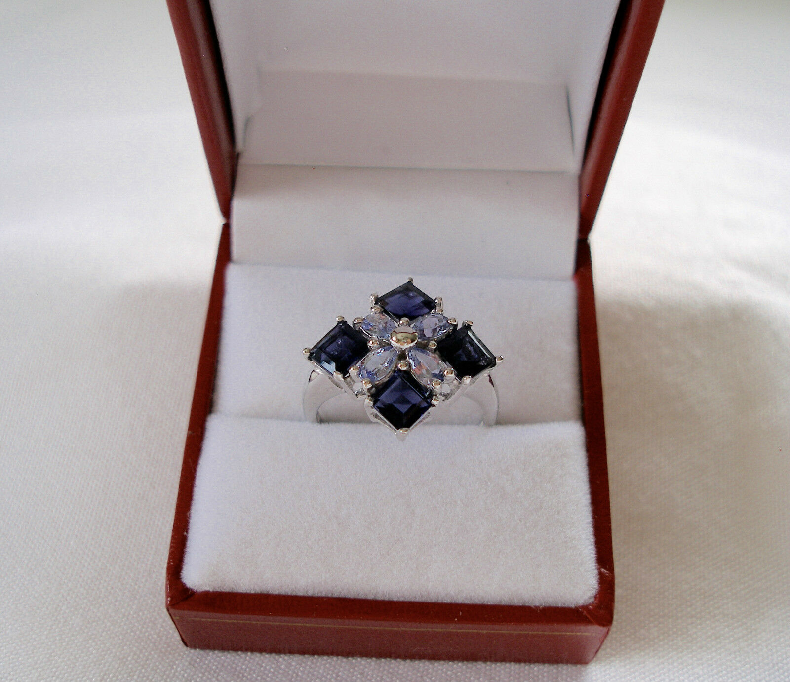 MAGNOLIA-  2.95 Ct. Iolite & Tanzanite  10k White gold Ring