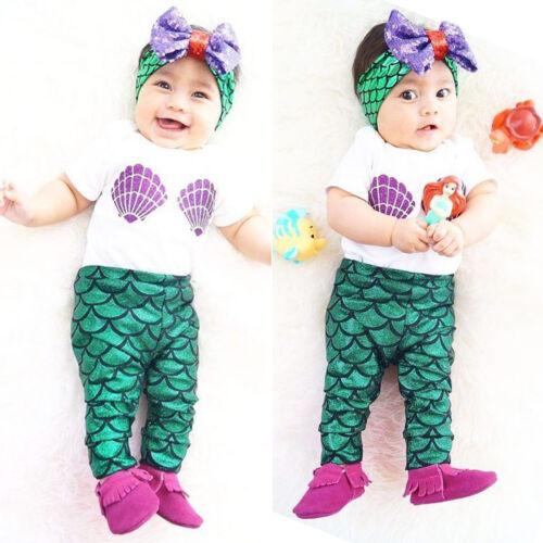 UK Toddler Kids Baby Girl Mermaid Clothes T-shirt Top Headband Pants Outfit Sets