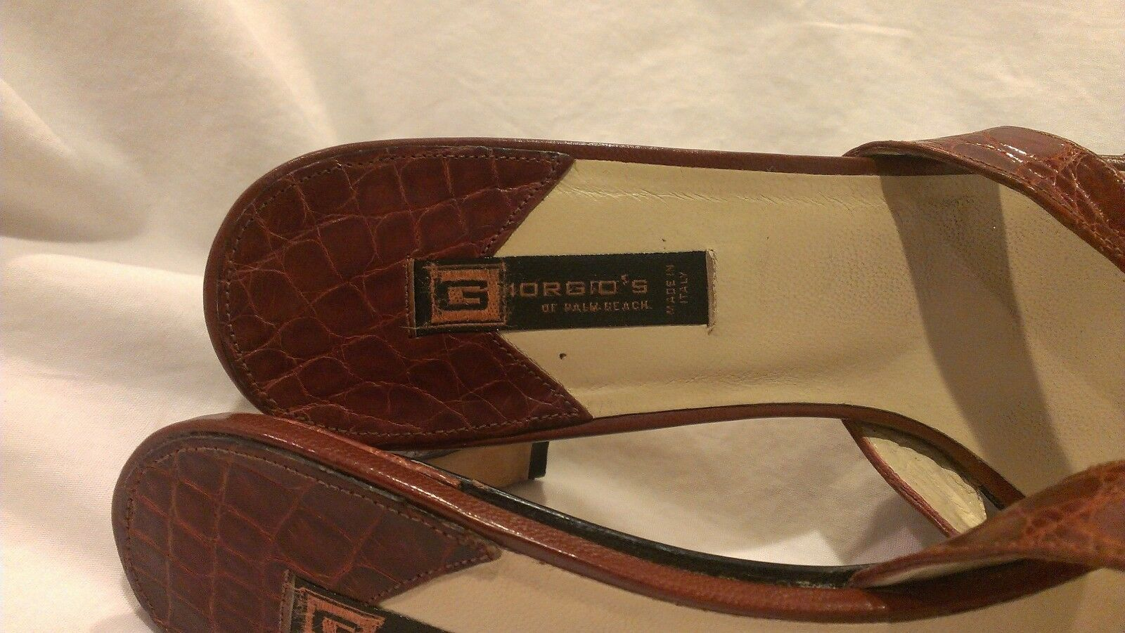 Giorgio's of Heels Palm Beach Chocolate Brown Alligator Strappy Heels of Shoes size 8 M ce4d15