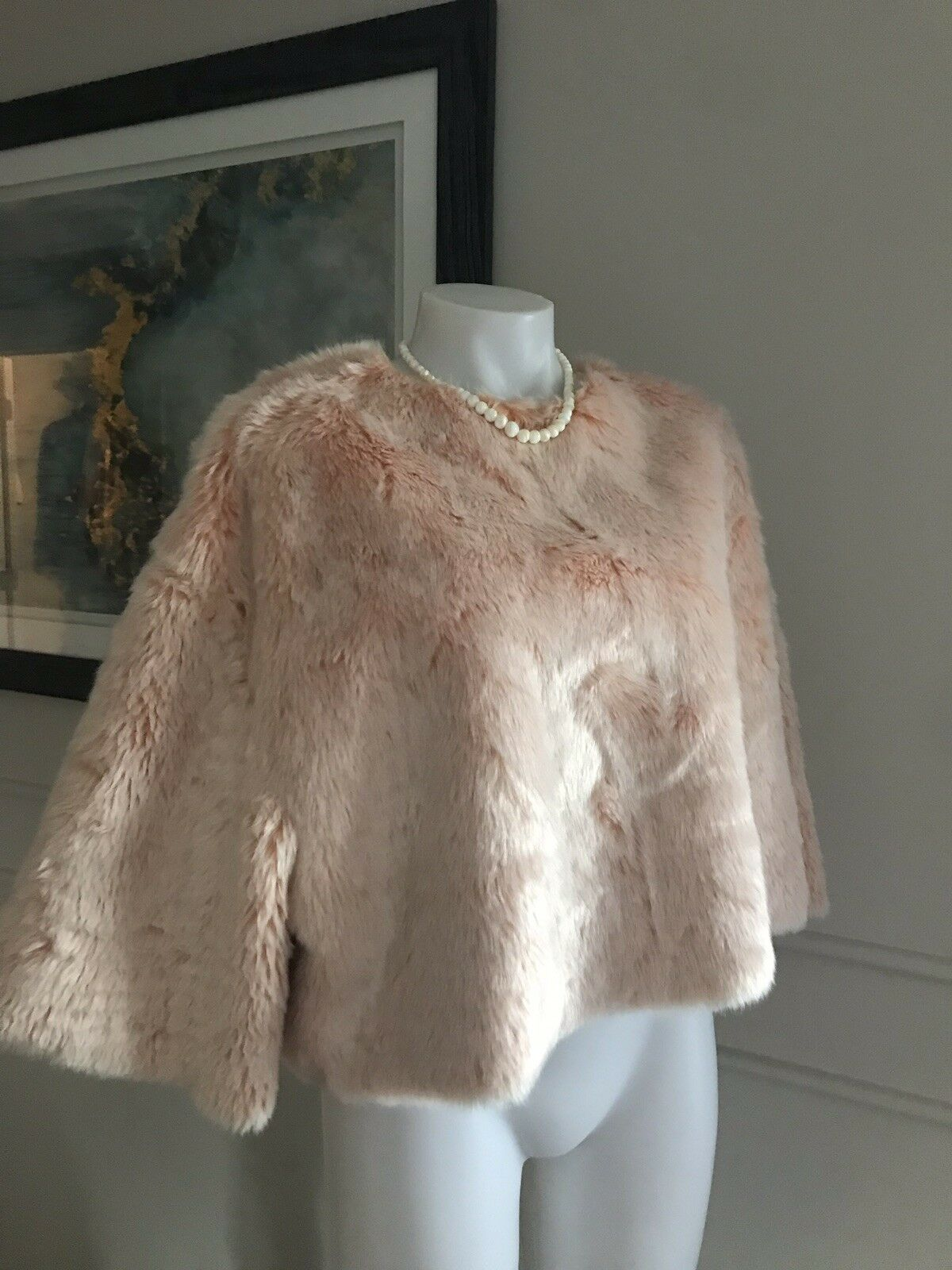 NWT Zara Woman's Poncho Faux Fur Light Pink size Small