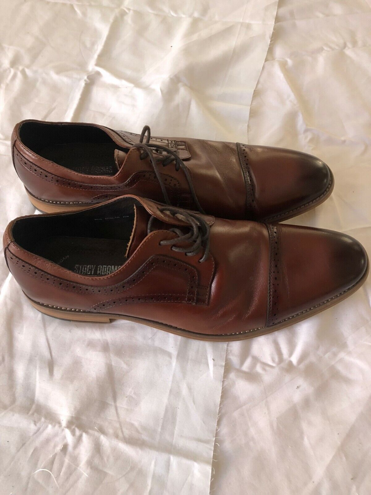 STACY ADAMS MEN'S - LACE UP - MADISON CUP TOE -  OXFORD - BROWN - SIZE 13 M