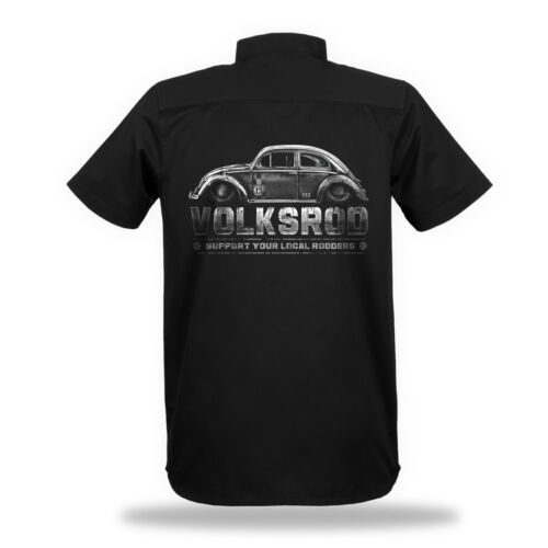 Volksrod Worker-Camicia shirt Uomo Razor Biker Rockabilly HotRod 50s Rocker v8
