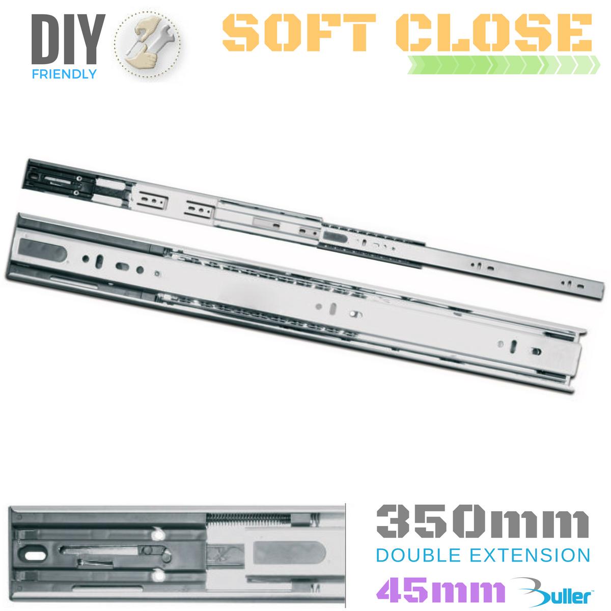 Drawer Runner Slide   Full Extension   30kg   Soft Close   45mm   Größe = 350mm